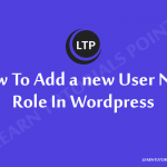 How to add a new user new role In Wordpress